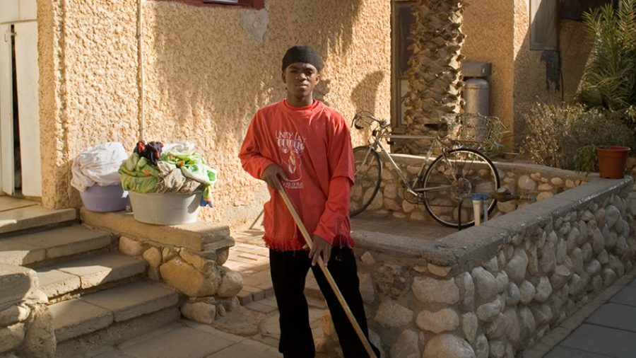 sweeping and laundry