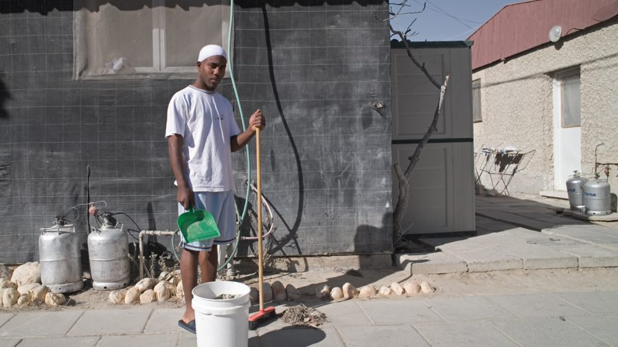 sweeping with dust pan